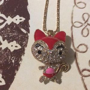Red Fox Large Rhinestone Necklace